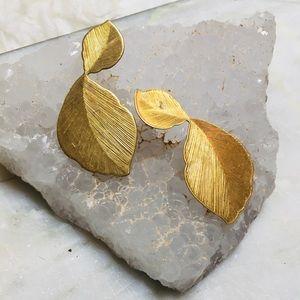 Vintage brass minimal etched leaf post earrings